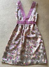 H&M Beige Purple Feather Dress UK 6