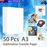 50 Sheets A3 Heat Sublimation Fabric Transfer Paper Dye Printing Mug Cup T-Shirt