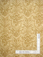 Belgian Floral Damask GoldBg  #6714 Cotton Fabric Campbell & Fundora By The Yard