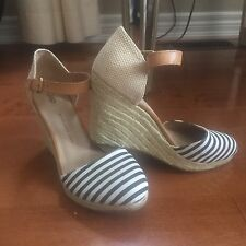 Gap Sailor Stripe Canvas Espadrilles Wedge Heels Size 10