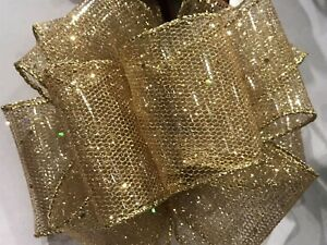 "Luxury Wire-Edged RIBBON Extra wide 6.3cm/2.5"" Gold Glitter Organza"