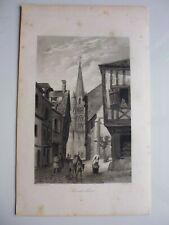 Gravure 19°noir et blanc: Normandie...Montivilliers