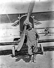 New 8x10 World War I Photo: American Fighter Pilot Standing by Army Airplane