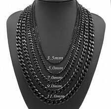 3.5/5/7/9/11mm Mens Chain Boy Stainless Steel Black Curb Cuban Necklace 18-30''