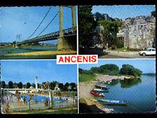 ANCENIS (44) PONT METALLIQUE , PISCINE animée , PLAGE & CHATEAU  en 1971
