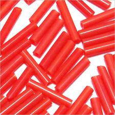 Perles de Rocailles Tubes en verre Opaque 9x2mm Rouge 20g