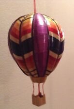 Hot Air Balloon Christmas Ornament Woven Reed Wicker Colorful Vtg Hand Made Art