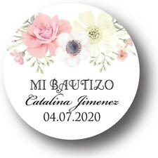 30 Mi Bautizo Floral Personalized Favor Stickers