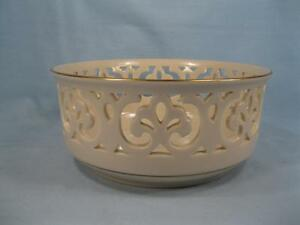 Lenox Tracery Collection Brittany Brit Pierced Round Bowl Giftware Gold Trim (O)