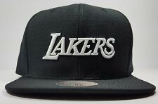 Los Angeles Lakers Mitchell & Ness Black White Solid Wool HWC Snapback Hat NBA