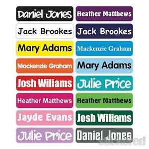25 x 46MM PERSONALISED IRON ON NAME LABELS SCHOOL UNIFORM CLOTHING TAGS