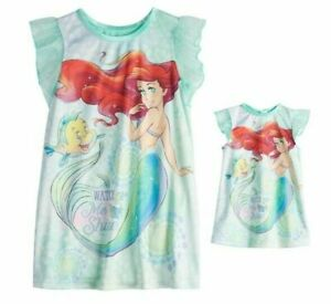 Disney Princes Ariel Toddler Girl Nightgown & Matching Doll Gown NWT 2T  or 3T