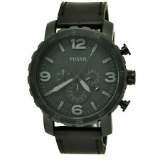 BRAND NEW FOSSIL NATE JR1354 MENS BLACK ION PLATED CHRONOGRAPH LEATHER WATCH f96fc48dd2