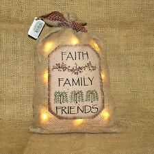 Faith Family Friends Small Lighted LED Burlap Sack Primitive Country Decor