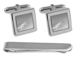 Sterling Silber Perlmutt Quadratische Manschettenknöpfe Krawatte Clip Box Set