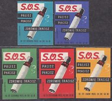 POLAND 1966 Matchbox Label - Cat.Z#654I/V set, Smoke, you pay, you lose health.