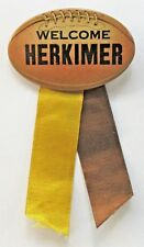 1930's WELCOME HERKIMER FOOTBALL New York figural pinback button +