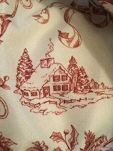 Nicole Miller Home Christmas Fabric Tablecloth,Red Toile on White,60x103,EUC