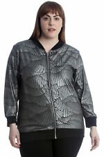 New Womens Plus Size Bomber Jacket Ladies Feather Metallic Textured Print Sale