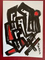 SEVARD Abstrakte Komposition Gemälde Zeichnung A4 Original Signiert Unikat N477