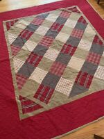 Woolrich Patchwork Quilt King/Queen Size Red Beige Cotton Farm House Cabin