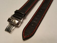 Tissot Black/Red Leather Straps 19mm Watch Band for PRS200 PRC200 PR100 LeLocle
