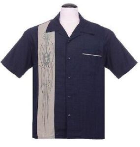 Steady Clothing V8 Pinstripe Panel Navy Bowling Button Down Shirt ST35680