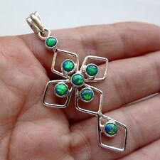 Green Fire Opal Gemstone Cross Solid Sterling Silver 925 Pendant Jewellery