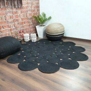 Rug 100% Natural Jute Braided Style Carpet Reversible Black Rustic Look Rug