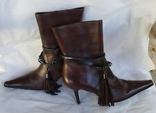 RODO Brown Leather Chain Tassel Ankle Boots 36