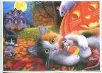 ACEO CALICO CAT HALLOWEEN CANDY CORN PUMPKIN PURPLE VICTORIAN HOUSE MICE  PRINT