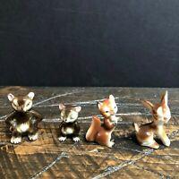 Vintage Ceramic Animal Figurines Bunny Rabbit Bear Fox Lot of 4