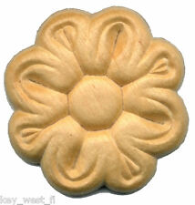"""Birch Applique ~ Flower Medallion ~ REAL WOOD  { 1-5/16"""" Dia. } ~ by  PLD"""