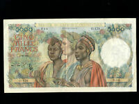 French West Africa:P-43,5000 Francs,1950 * RARE * VF *