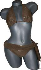 NWT BADGLEY MISCHKA 4 S Swimsuit Bikini $250 metallic liquid gold designer