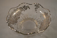 Sterling Silver overlay glass bowl elegant flower pattern scallop rim unknown#AA