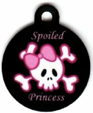 Engraved Pet ID Tag Round Spoiled Skull and Pink Bow