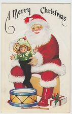 c1910 Large SANTA CLAUS Christmas Postcard Baby Doll Drum Gifts Red Suit Greetin