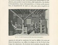 ANTIQUE PAPER ART PRINT OF A 13TH CENTURY PRINT MAKING WORKSHOP PRINTMAKER PRESS