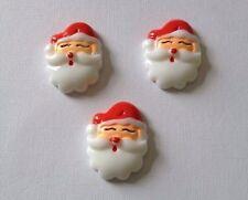 3 x Resin Santa Flatback Resins Embellishments Cabochon scrapbooking card making