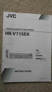 JVC HR-V715EK VHS VCR PLAYER RECORDER - ORIGINAL INSTRUCTIONS MANUAL