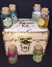 Wooden Potion Kit - Wood Burnt Box - Six Potions. Can Be Personalised