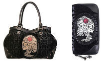 Gothic Cameo Skull & Rose Flocked Handbag and Wallet SET Shoulder bag by Banned