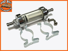 "Chrome & Glass Fuel Petrol Diesel Inline Filter 5/16"" 8mm With Fitting Kit"