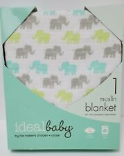 "Baby Swaddle Blanket By Aden & Anais, Muslin, Elephant Design, 42"" x 42"", New"