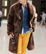 Men Mid Long Fur Coat Solid Warm Lapel Cardigan Formal Casual Winter Occident
