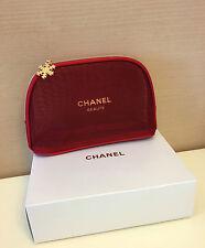 CHANEL BEAUTE Red Mesh Makeup Cosmetic Bag Pouch *Very Rare X'mas Version NIB