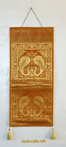 Indian Handicrafts Wall Art Banarasi Brocade Hanging Peacock Letter Holder Box