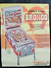 Flyer Publicité Bronco Flipper Pinball Gottlieb -collection jeux café game