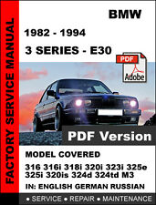 BMW E30 3 SERIES 1982 - 1994 FACTORY SERVICE REPAIR WORKSHOP SHOP OEM FSM MANUAL